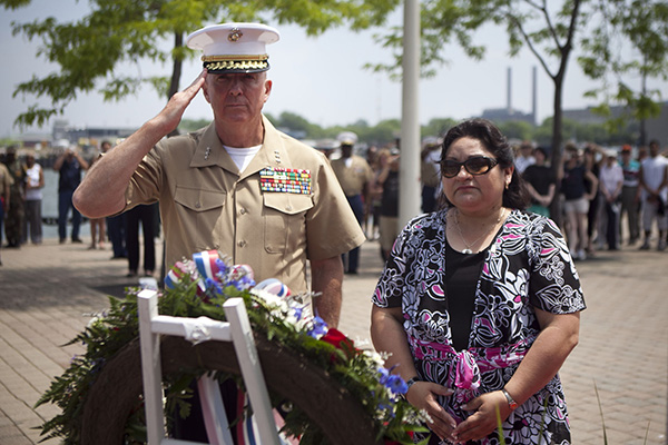 Lt. Gen. Steven A. Hummer, commander of Marine Forces Reserve and Marine Forces North, and Sandra Ma