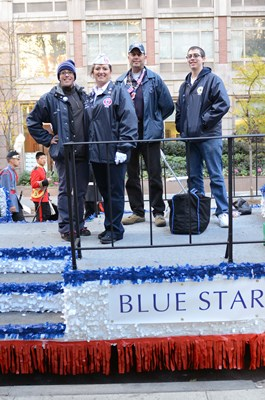 Blue Star Families pose for a quick picture before their turn in the parade.