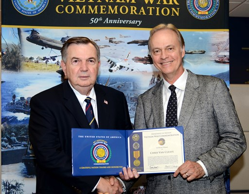 Singer and songwriter Chris Van Cleave visited the Vietnam War Commemoration and received a Certific