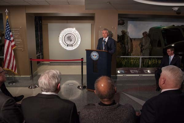 Former Secretary of Defense Chuck Hagel speaks during a Vietnam War hallway dedication.