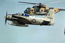 A-1E Skyraider and HH-3C Jolly Green Giant