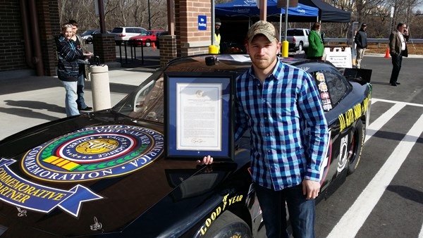 Jeffrey Earnhardt holds the Commemoration of the 50th Anniversary of the Vietnam War A Proclamation.