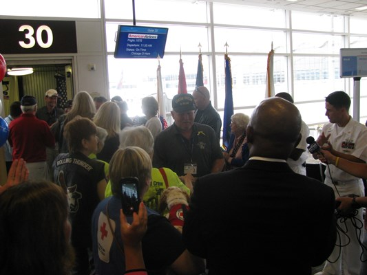 Vietnam Veterans arrive to Reagan National Airport in Washington, D.C. on an Honor Flight sponsored