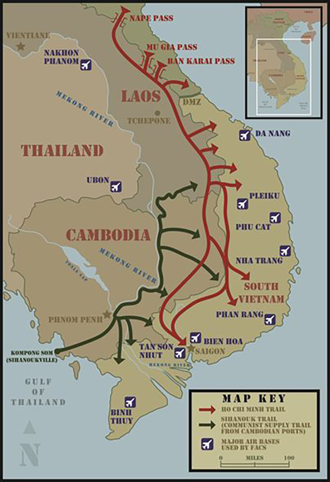 Ho Chi Minh and Sihanouk Trails Map
