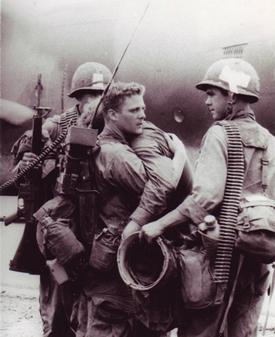 Radioman Comforts Friend During Operation Byrd