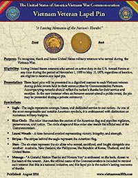 Vietnam Veteran Lapel Pin Fact Sheet