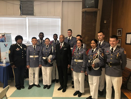 MG Arnold Fields poses with ROTC unit.
