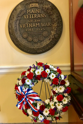 State plaque and wreath honoring Vietnam Veteran veteranshonoring Vietnam veterans