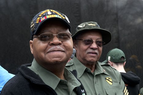 Two of the Vietnam veterans pinned in a ceremony at The Vietnam Veterans Memorial Wall.