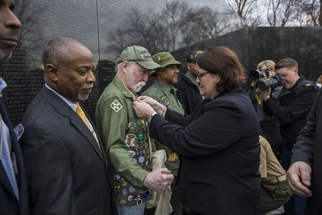 Vietnam veterans at The Vietnam Veterans Memorial Wall
