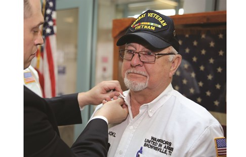 A Vietnam veteran gets pinned in Texas