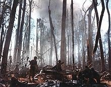 Aftermath of the battle, looking up at Hill 875, November 22, 1967 (U.S. Army)