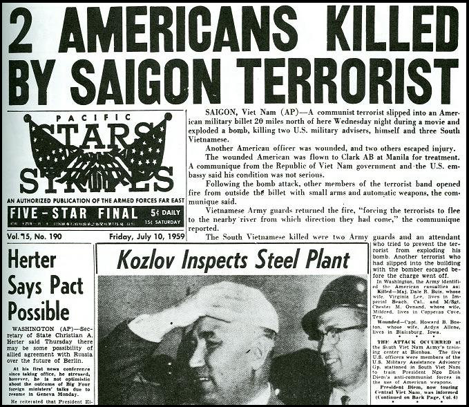Cover of Stars and Stripes for July 10, 1959, reporting on the attack on July 8.