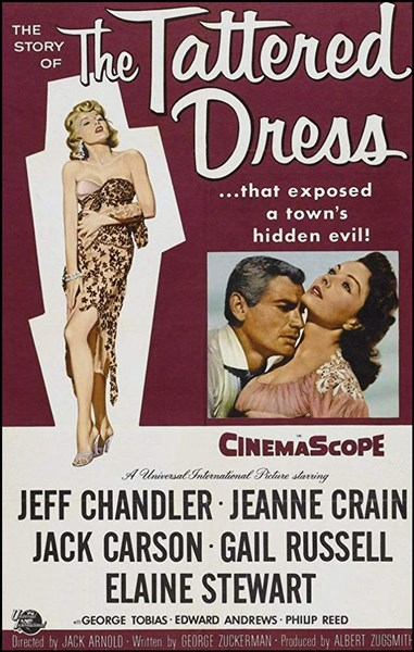 An advertising poster for the film The Tattered Dress, (1957).