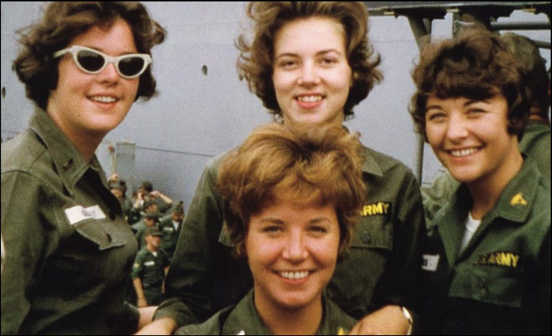 Four Army nurses assigned to the 85th Evacuation Hospital at Qui Nhon photographed on September 1, 1965. Pictured front: First Lieutenant Joan Schwerman; back, left to right: First Lieutenants Kathleen Gilluly, Sharon Forman (later Bystran), and Mary Rum (later Caspers).