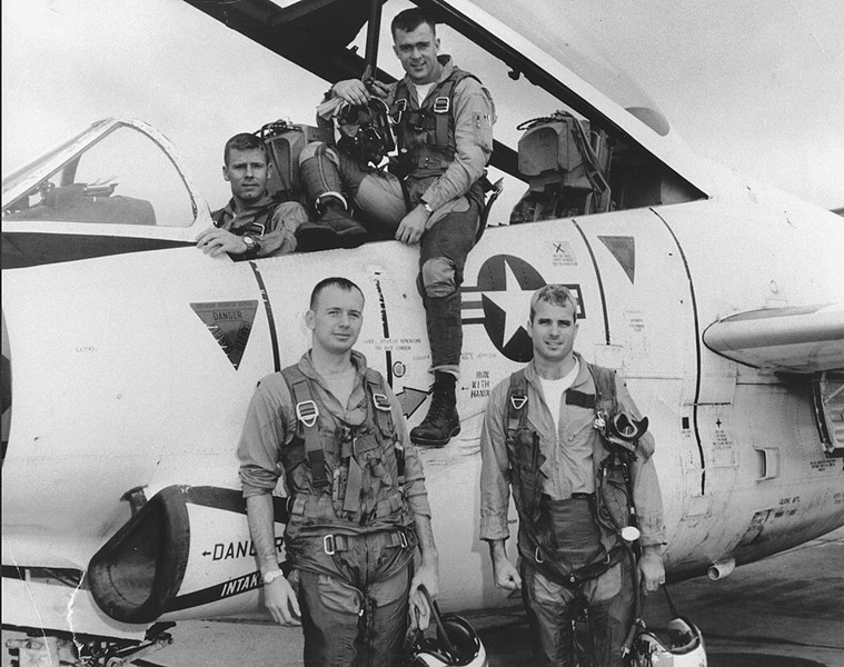 John McCain (lower right) with his squadron mates when he served as flight instructor, 1965.