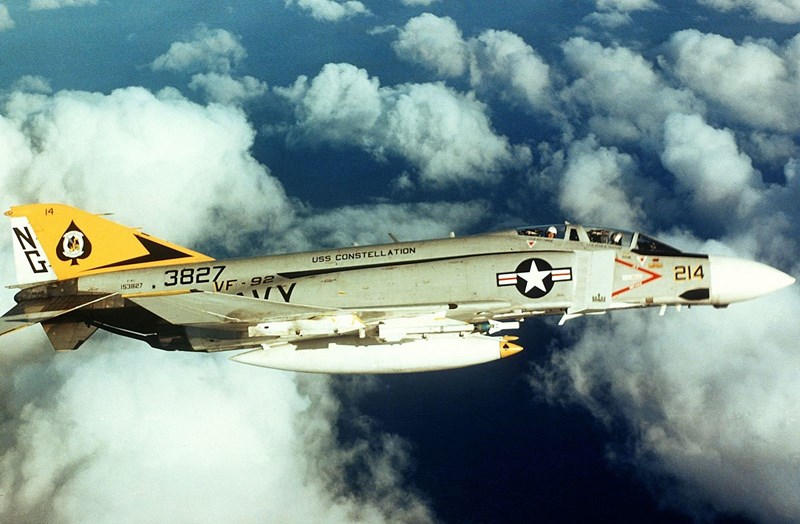 A U.S. Navy F-4J Phantom II, similiar to the one flown by Hall and Kientzler, circa 1973.
