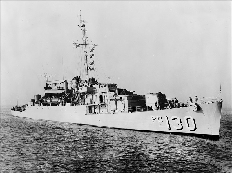 Photo of the high-speed transport USS Cook (APD-130) taken in 1956. The Cook was the vessel from which the Marine Force Recon team disembarked on April 23, 1965.