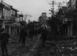 Marines Patrol Streets during Battle of Hue