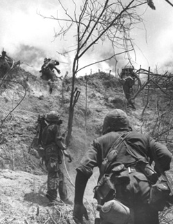 Marines Regiment Rush Up a Slope