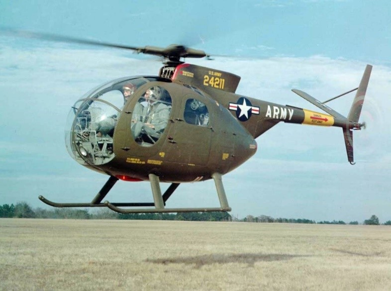 A U.S. Army OH-6 Cayuse scout helicopter, similar to the one in which Taylor, Bowles, and Christensen were forced to land under fire.