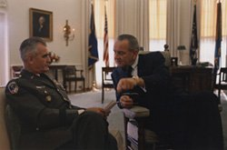 Westmoreland and Johnson in Oval Office