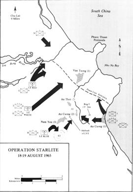 Map of Operation STARLITE's first days